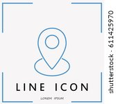 line icon  map  pointer