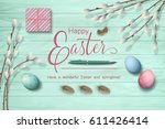 easter top view wooden... | Shutterstock .eps vector #611426414