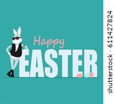 easter bunny hipster and... | Shutterstock .eps vector #611427824