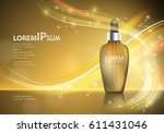 serum essence with dropper on... | Shutterstock .eps vector #611431046