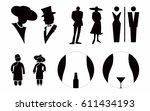 lady and gentlemen toilet sign... | Shutterstock .eps vector #611434193