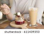 coffee and dessert   Shutterstock . vector #611439353