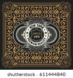 label with baroque elements and ... | Shutterstock .eps vector #611444840