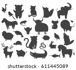 Stock vector set of cartoon animal pets icons isolated vector illustration silhouettes of guana and turtle 611445089