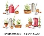 watercolor illustrations of... | Shutterstock . vector #611445620