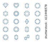 vector set with outline gems ... | Shutterstock .eps vector #611448578