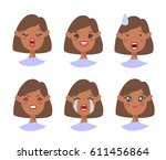 set of emotional character.... | Shutterstock .eps vector #611456864