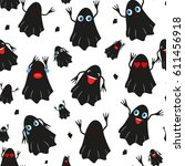 seamless pattern with black... | Shutterstock .eps vector #611456918