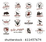 Wild animal Badges set and great outdoors activity insignias. Retro illustrations. Typographic camping style. Vector badges, logos with letterpress effect. Custom explorer quotes | Shutterstock vector #611457674
