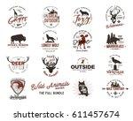 wild animal badges set and... | Shutterstock .eps vector #611457674