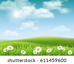 rural hilly landscape with... | Shutterstock .eps vector #611459600