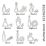 9 isolated doodle cooking oils. ... | Shutterstock .eps vector #611462318
