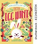 easter egg hunt template vector ... | Shutterstock .eps vector #611463554