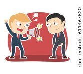 businessman yelling with... | Shutterstock .eps vector #611467820