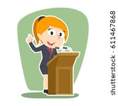 businesswoman giving speech | Shutterstock .eps vector #611467868