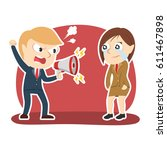 businessman yelling with... | Shutterstock .eps vector #611467898