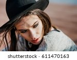 young and beautifull brunette... | Shutterstock . vector #611470163