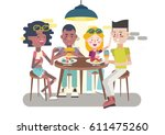 teens eating  chatting and... | Shutterstock .eps vector #611475260