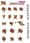 maryland flag collection. big... | Shutterstock .eps vector #611475953