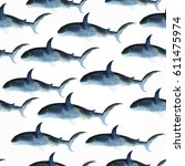 shark seamless pattern... | Shutterstock . vector #611475974
