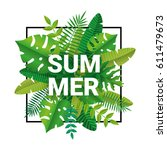 tropical summer time background   Shutterstock .eps vector #611479673