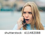 emotional beautiful blonde... | Shutterstock . vector #611482088