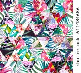 Watercolor Tropical Pattern In...
