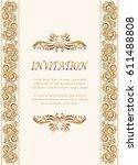 invitation card  wedding card... | Shutterstock .eps vector #611488808