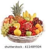 basket of fruit cut out | Shutterstock . vector #611489504