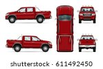 Red Pickup Truck Vector...