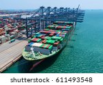 container container ship in... | Shutterstock . vector #611493548