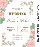 wedding invitation with flowers ... | Shutterstock .eps vector #611494070