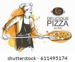 baker in uniform with pizza... | Shutterstock . vector #611495174