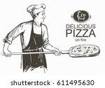 baker in uniform with pizza... | Shutterstock .eps vector #611495630