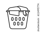 laundry basket with dirty... | Shutterstock .eps vector #611495774