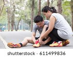 sports injury. man with pain in ... | Shutterstock . vector #611499836