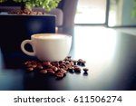 a cup of latte coffee with... | Shutterstock . vector #611506274