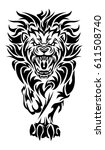 Illustration Of A Roaring Lion...