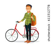 young man with bike and backpack | Shutterstock .eps vector #611512778