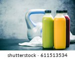 set of natural energy drinks in ... | Shutterstock . vector #611513534
