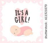 its a girl. cute baby and hand... | Shutterstock .eps vector #611521070