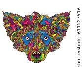 vector ornament face of dog.... | Shutterstock .eps vector #611527916