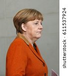 Small photo of JANUARY 18, 2017 - BERLIN: German Chancellor Angela Merkel at a press conference after a meeting with the Italian Prime Minister in the Chanclery.
