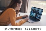 woman with laptop | Shutterstock . vector #611538959
