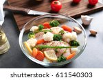 marinating chicken with... | Shutterstock . vector #611540303