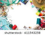 colorful tailoring objects on a ... | Shutterstock . vector #611543258