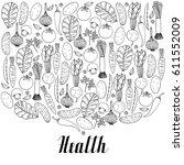set of hand drawn vegetables on ... | Shutterstock .eps vector #611552009