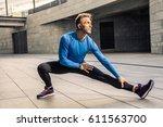 handsome athlete man in black...   Shutterstock . vector #611563700