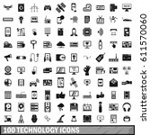 100 technology icons set in... | Shutterstock .eps vector #611570060