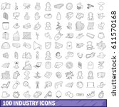 100 industry icons set in... | Shutterstock .eps vector #611570168